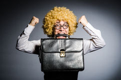 Funny businessman. With curly hair Royalty Free Stock Image