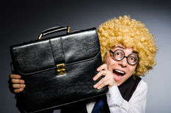 Funny businessman. With curly hair Royalty Free Stock Images