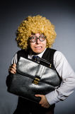 Funny businessman with curly hair. Funny businessman with  curly hair Royalty Free Stock Photos