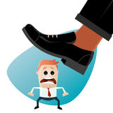 Funny businessman is in danger. Beneath huge shoe about to be stepped on Royalty Free Stock Images