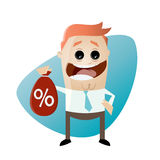 Funny businessman with discount bag Royalty Free Stock Images