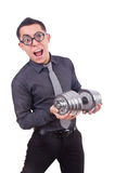 Funny businessman with dumbbells Stock Photography