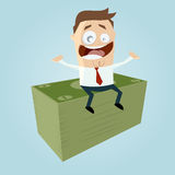 Funny businessman is earning money. Illustration of a funny businessman is earning money Royalty Free Stock Photography