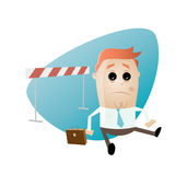 Funny businessman fallen over hurdles Royalty Free Stock Images