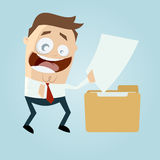 Funny businessman with file and folder. Illustration of a funny businessman with file and folder Stock Photo