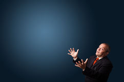 Funny businessman gesturing with copy space Stock Image