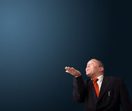 Funny businessman gesturing with copy space Stock Photography