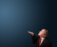 Funny businessman gesturing with copy space Stock Photos