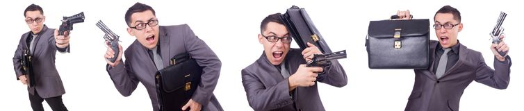 The funny businessman with gun on white Royalty Free Stock Photo