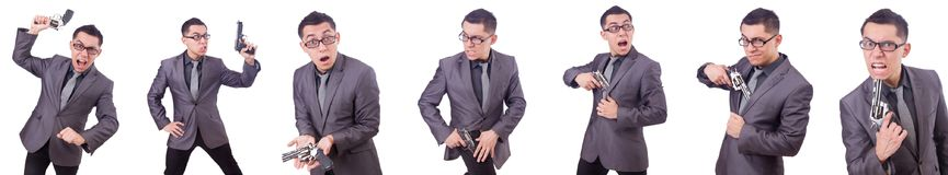 The funny businessman with gun on white Stock Photo