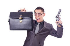 Funny businessman with gun Royalty Free Stock Photos