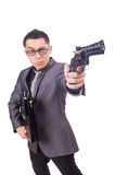 Funny businessman with gun Royalty Free Stock Photo