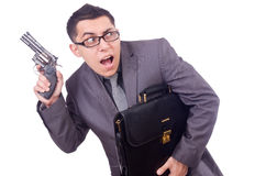 Funny businessman with gun Stock Photos