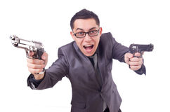 Funny businessman with gun Royalty Free Stock Photography