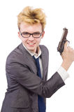 Funny businessman with gun Royalty Free Stock Images