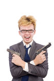 Funny businessman with gun Stock Photography