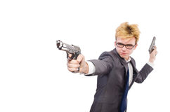 Funny businessman with gun Stock Images