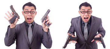 The funny businessman with gun on white Stock Photos