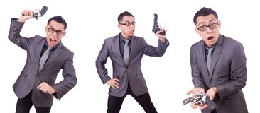 The funny businessman with gun on white Royalty Free Stock Photos
