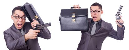 The funny businessman with gun on white Stock Photography