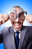 Funny businessman with handcuffs Royalty Free Stock Photo