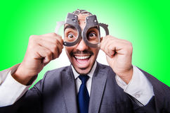 Funny businessman with handcuffs Stock Photos