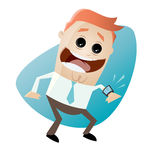 Funny businessman with his smartwatch. Illustration of a funny businessman with his smartwatch Royalty Free Stock Photos