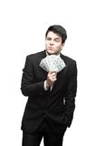 Funny businessman holding money Stock Photos