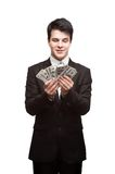Funny businessman holding money Royalty Free Stock Photography