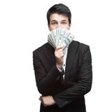 Funny businessman holding money Royalty Free Stock Image
