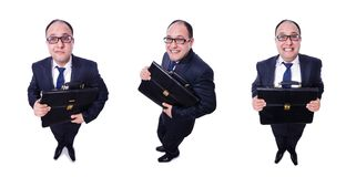 The funny businessman isolated on white. Funny businessman isolated on white stock images
