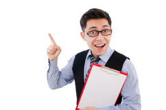 Funny businessman isolated Stock Photo