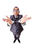 The funny businessman isolated on the white Stock Image
