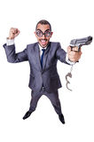 The funny businessman isolated on the white Stock Photos