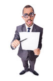 Funny businessman isolated on the white Stock Photography