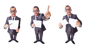 The funny businessman isolated on the white Royalty Free Stock Photos