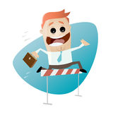 Funny businessman jumping over hurdles. Illustration of a funny businessman jumping over hurdles Stock Image