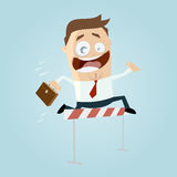 Funny businessman jumping over hurdles Royalty Free Stock Images