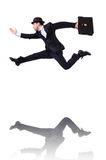 Funny businessman jumping. On white Royalty Free Stock Image
