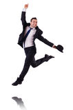 Funny businessman jumping. On white Stock Images
