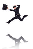 Funny businessman jumping Royalty Free Stock Photo
