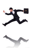 Funny businessman jumping Stock Photos