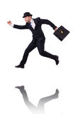 Funny businessman jumping Stock Photo