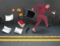 Funny Businessman Late For Work, Job. A funny businessman is running to work in his pajamas because he is late. His briefcase has opened and he is losing all his Stock Photos