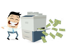 Funny businessman making copies of bank notes Stock Images