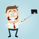 Funny businessman making a selfie Royalty Free Stock Photo