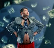 Funny businessman with money Stock Photo