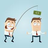 Funny businessman with money on fishing rod. Illustration of a funny businessman with money on fishing rod Stock Images