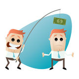 Funny businessman with money on fishing rod Stock Images