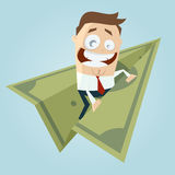 Funny businessman on money paper plane Royalty Free Stock Photography